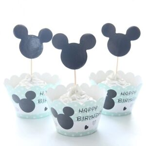 12 Mickey Mouse Cupcake Wrappers & 12 Toppers kids Birthday party decoration