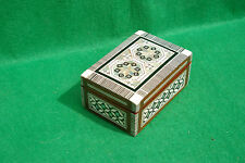 DECORATIVELY INLAID HINGED OBLONG WOODEN BOX  FINISHED  IN VARNISH