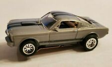 65 Mustang Silver Black Strips Tjet Ho Slot, Aurora Chassis, New Rims, Tires