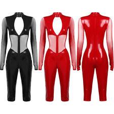 Womens One-piece Bodysuit Jumpsuit Leotard Long Sleeve Top Party Mesh Clubwear