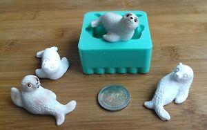 3D Silikonform Gießform Robben Seehunde 2tlg / Seifen / Basteln Dekoration DIY