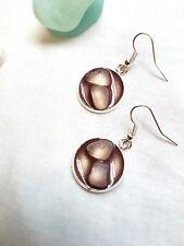 White sea glass and burgery resin earrings