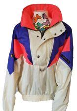 Vtg Descente Pink Neon Blue & White Pullover Windbreaker Ski Jacket Sz 2 Mens