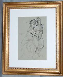 Hendrik Glintenkamp Watercolor Pen Ink Drawing Nude Man and Woman 1921