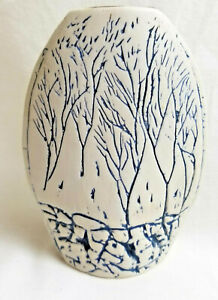 "Small Vase Handcrafted Pottery Blue Trees on Gray 5.5"" Tall"