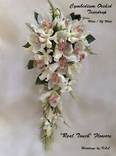 ORCHID TEARDROP BRIDAL BOUQUET-  CYMBIDIUM, WHITE VANDA ORCHIDS & ROSES