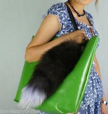 "Super Large Fox Tail Keychain Fur Tassel Bag Tag Charm 16""-18"" Handbag Accessory"