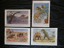4 1942 Dinosaur Prints by Charles R. Knight - PROTOCERATOPS, DIPLODOCUS, + MORE