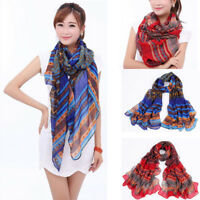 Women Floral Long Neck Warp Large Fall Shawl Scarf Scarves Boho Stole Xmas Gift