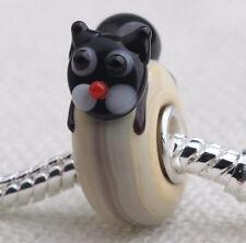 1pcs SILVER MURANO GLASS BEAD LAMPWORK Animal European Charm Bracelet DW076