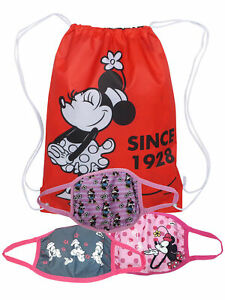 "Girls Minnie Mouse 3 Pack Reusable Face Masks & Disney 18"" Drawstring Sling Bag"