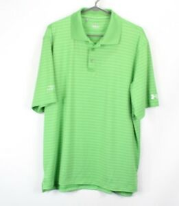 Under Armour Heat Gear Mens Large Short Sleeve Striped Collared Golf Polo Shirt