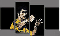 Bruce lee Home Decor Oil Painting HD Print On Canvas Wall Art 4pc No Frame T2