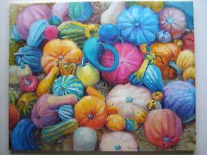 PUMPKINS ORIGINAL OIL PAINTING STILL LIFE  ART BY ARTIST