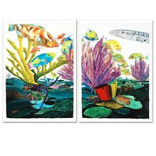 """Coral Reef Life"" by Wyland Limited Numbered& Hand Signed Diptych Set on Canvas"