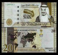 SAUDI ARABIA New 20 Riyals G 2020 A prefix Commemorative Gulf Salman UNC NOTE