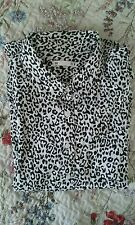 Black and white leopard animal print blouse shirt 18