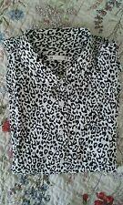 Negro Y Blanco Leopardo Animal Print Blusa Camisa 18