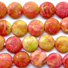 Serpentine 15mm Mottled Pink Yellow Coin Semi Precious Stone Q12 Beads per Pkg