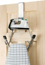 Polder Ironing Board Storage Rack Over The Door Hook Chrome Iron Holder Laundry