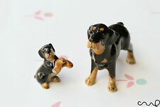 Set of 2 Rottweiler Ceramic Dogs Doll Ornaments Collectable Animal Figurine Gift