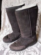 NICE TALL AUSTRALIAN UGG BOOTS BROWN SHEEPSKIN LEATHER WITH SHERPA LINING SIZE L