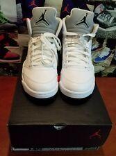 Nike Air Jordan 5 V Retro White Metallic Sz 8 Men VNDS  136027-130