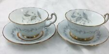 Two Teacups and Saucers Northumbria Morning Mist Cream & Blue Grey w/ Gold Trim