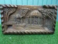 Superb Antique Wooden Relief Carved Panel, Figures & Other In Garden Setting