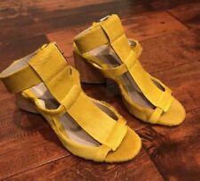 Maria Cornejo Mustard Yellow Pony Hair Cuff Heels, Size 10 (US) 40 (IT)
