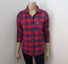 Hollister Womens Plaid Flannel Shirt Size Medium Top Blouse Red & Navy Blue