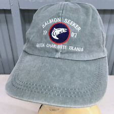 Salmon Seeker Queen Charlotte Islands Fishing Leather Strap Baseball Cap Hat