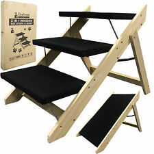 More details for portable wooden 2-in-1 pet folding dog cat 3 ramp steps stairs ladder travel