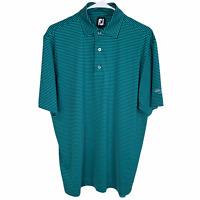 FootJoy FJ Golf Polo Shirt Medium Green Navy Blue Striped Short Sleeve Stretch