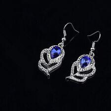 Women Jewelry blue gem Rhinestone Crystal Silver Leaves Charm Pendant Earrings