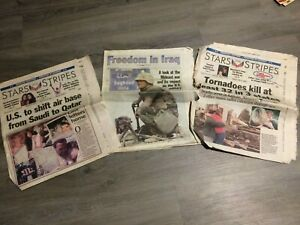 2003 June,april,may issues of Stars and stripes news papers bring backs