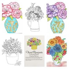 Adult Coloring Books For Women Men Kids Flower Bouquets Drawing Painting Art
