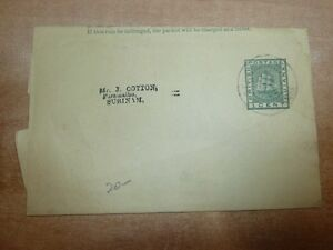 British Guiana 1c green ship wrapper used to Suriname (10bed)