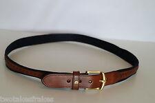 Dunhill Brown & Blue Designer Leather Belt Golf New Made In England UK W42 42