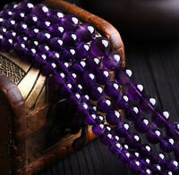 4/6/8/10/12/14MM Natural Purple Amethyst Round Gemstone Loose Beads 15''AAA
