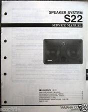 Yamaha S22 Monitor Speaker Original Service Manual Schematics Parts List Book