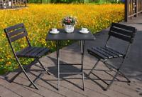 Tavolo Da Giardino Pieghevole Nero Effetto Legno HDPE con 2 Sedie Pieghevoli