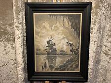 ArtByJonnyFrost Peter Pan Captain Hook Framed Original Disney Charcoal Drawing