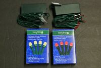 2  Merry Brite 15x2 count Clear Bulb Battery operated LED lights Green String rd
