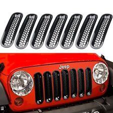 For Jeep Wrangler 2007-2017 Front Grill Grilles Bumper Net Durable Black 7pcs