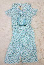 Vintage Carters Pajama Sleepwear Set Unisex Size 6M Blue Floral Snap Two Piece