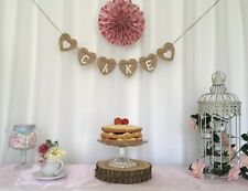 Rustic Hessian Heart ❤️ CAKE ❤ Wedding Christening Party Hanging Venue Bunting