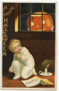 Clapsaddle Halloween Pajama Boy Ye Ghost Book JOL in Window