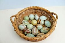 16 x Marble Onyx Alabaster Polished Stone Eggs in Vintage Woven Bamboo Basket