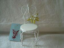Silla De Metal Blanco-Decoración Floral-Traje Ajuste De Casa De Muñecas